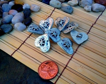 Italian Metal Buttons, 20mm, Antique Silver, Heart, Priced per Button
