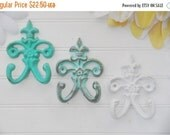 SUMMER SALE SET of 3 / Small Wall Hook / Fleur De Lis Decor / French Country / Shabby Chic Hook / Patina / Aquamarine / White