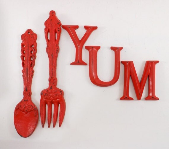 Items Similar To Poppy Red Fork And Spoon Wall Decor Yum Kitchen Decor Rustic Kitchen