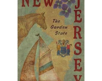 NEW JERSEY 1FS- Handmade Leather Journal / Sketchbook - Travel Art