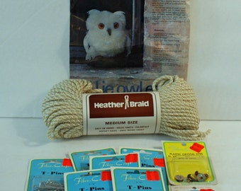 Owl Macrame Kit Heather Braid Skein 5 pkgs T-pins and pkg of eyes  Ollie Owlet Directions