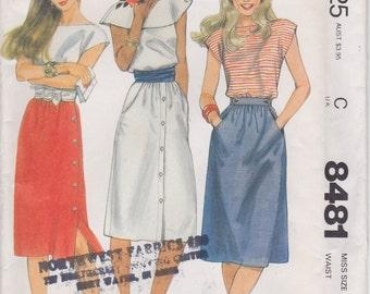 Skirt Pattern Pockets Buttons 1983 Misses Size 20 Waist 34 Uncut McCalls 8481