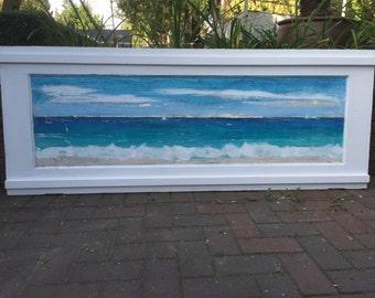 Original Sander Painting - Fair Winds & Calm Seas - Extra Large Beach House Art Wall Decor Door Painting by CastawaysHall - READY TO SHIP
