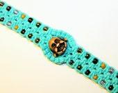 Laughing Buddha hemp bracelet with seed beads, macrame, hippie, meditation, hindu, teal, music festivals, yoga