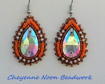 Native American Beaded Earrings - Teardrop Crystal - Bronze, Orange, & White