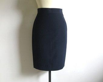 Vintage 1980s Wool Skirt GENNY Navy Blue Wool Pencil Skirt 6