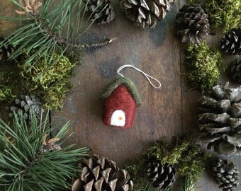 Wool cottage ornament, Brick Red, miniature house ornament, felt house, red house ornament, housewarming gift, first house ornament