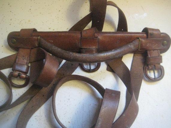 Antique Victorian Leather Book Strap Carrier Triple Straps