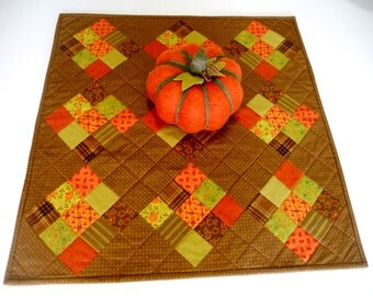 Primitive Fall Quilted Table Topper, Autumn, Table Runner, Table Quilt, Nine Patch, Farmhouse, Thanksgiving Table