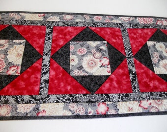 Elegant Quilted Table Runner, Quilted Table Topper, Floral Table Runner, Table Quilt, Asian