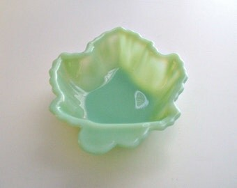 Fire King Jadite Maple Leaf Candy Dish Jadeite Spoon Rest Vintage Trinket Holder Bowl