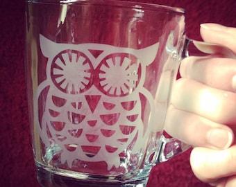 Owl Coffee Mug, Hand-etched