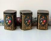 Vintage Floral Tins from England. Decorative Tins. Boudoir, Powder Room, Bed and Bath Decor. Vanity or Dresser Boxes. Shelf Decor.