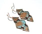 Geometric Earrings Copper Patina Earrings Copper Jewelry Patina Jewelry Rustic Chic Earrings Rustic Jewelry Geometric Jewelry Hexagons