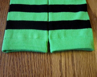 Baby/Toddler Leg Warmers - Green and Black Stripes - Witch Stockings