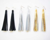 Long Leather Tassel Earrings, Leather Fringe Earrings, Statement Earrings