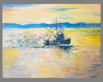 Original Oil Painting on Canvas- Sea and Boat-24x32 Original landscape-impressionistic oil painting by Ivailo Nikolov