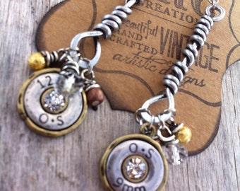 Rustic Shotgun Shell Wire Wrapped Dangle Earrings
