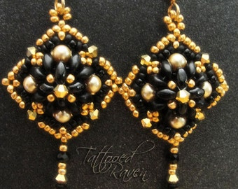 Gold and Black Bead Stitched Earrings