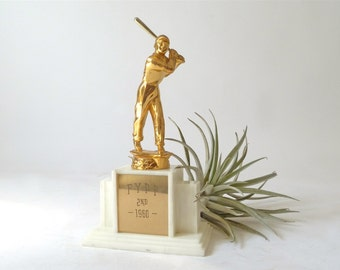Vintage 1960s Baseball Trophy ... Small Sports Trophy, 2nd Place Trophy, Athletics Trophy, Gold Trophy, Award, Honor, Ball Game Recognition