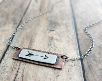 Minimalist Arrow Necklace - Stamped Jewelry - Dainty Necklace - Sterling Silver and Copper Rectangle Pendant