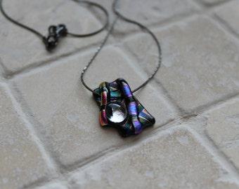 Dichroic glass pendant on chain, fused dichroic glass necklace, dichroic pendant, dichroic necklace, dchroic glass
