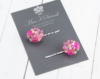 Vintage Pink Hair Pins - Pink Beaded Bobby Pins - Gift Under 20 - Gift for Her - Christmas Gift - Bridesmaid Gift - Vintage Crystal Hair Pin