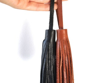 HANDCUT LEATHER TASSEL // Add to a bag or use as a keychain // Long Leather Tassel