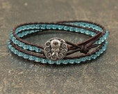Silver Turquoise Octopus Bracelet Sparkly Beaded Leather Octopus Jewelry