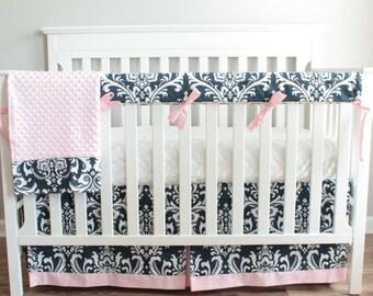 Navy Blue Damask and Pink Girl Bumperless Crib bedding set
