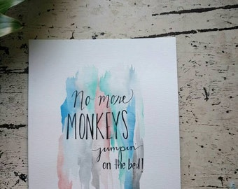 No More Monkeys Watercolor 8x10