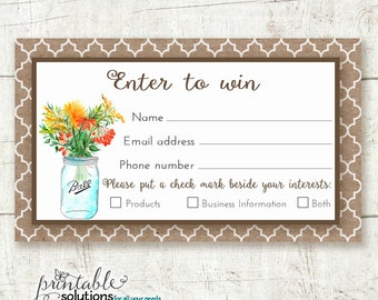 Enter to win form direct sales prize entry ticket raffle card by
