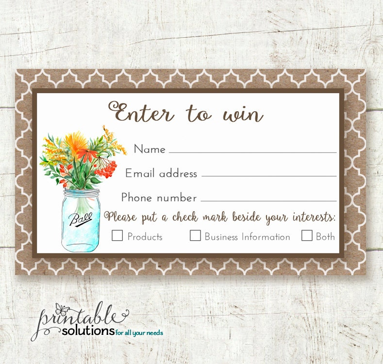 direct sales prize entry ticket raffle card win form