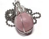 Rose Quartz Necklace Sphere Pendant Wire Wrapped