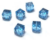 Aquamarine Swarovski Crystal Cube Beads 5601 8mm (6)