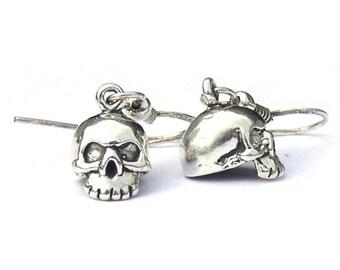 Sterling Silver Skull Earrings Biker Jewelry