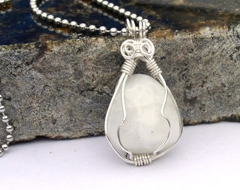 Moonstone Necklace Wire Wrapped Pendant Teardrop