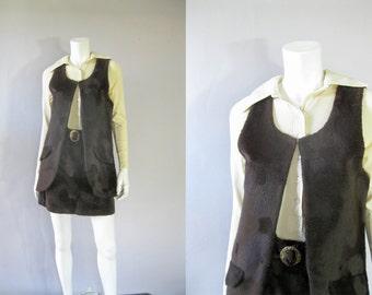 Vintage 1970s Faux Fur Set - 70s  Skirt and Vest