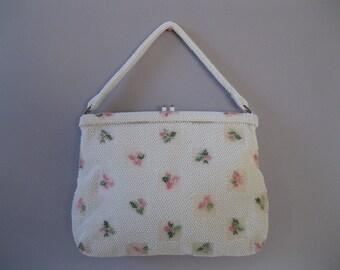 Vintage 1950s White Floral Handbag - Corde Beaded Purse - Bridal Wedding Fashions