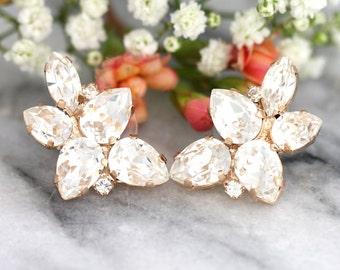 Bridal Rose Gold earrings,Swarovski Earrings, Bridal Earrings,Bridal Cluster Studs,Swarovski Bridal earrings,White Crystal Vintage Earrings