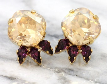 Champagne Stud Earrings,Citrine Crystal Earrings,Topaz Swarovski Stud Earrings,Christmas Gift, Champagne  Swarovksi Earrings,Gift For Her