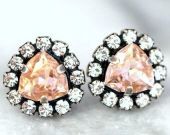 Blush Earrings,Blush Stud Earrings,Bridal Swarovski Blush Earrings,Flower Girl Earrings,Bridesmaids Earrings,Gift For her,Bridal Earrings