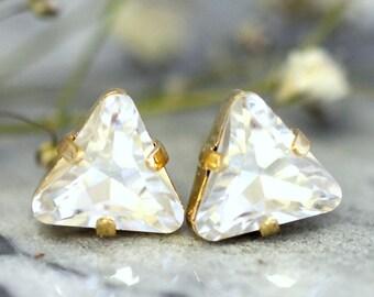 Triangle Earrings Studs, Swarovski Crystal Studs,Geometric Gold Earrings, Minimalist Triangle Earrings, Geometric Earrings, Gift for Her