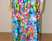 SALE Vintage Hawaiian Floral Print Versatile Maxi Skirt  M/L