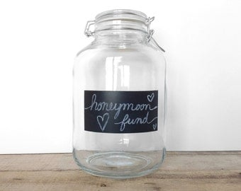 SHOP SALE! Make it Your Own! Chalkboard Storage Jar / Change Jar / Honeymoon / Wedding / Vacation / Money Jar / Storage Jar