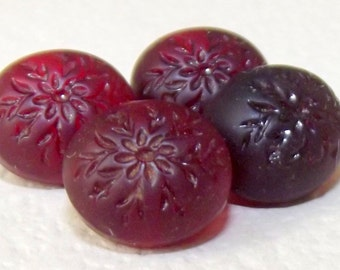 RESERVED FOR Ana Antique Buttons 4 Cranberry glass Oval shape w/ floral design Sweet!