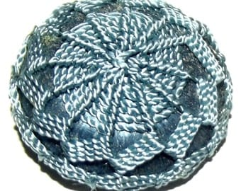 Antique Button ~ Fabric Button ~ Blue Silk Crochet Button ~ Wound Fabric Button