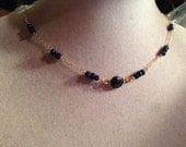 Sapphire Necklace - Navy Blue Jewelry - Gemstone Jewelry - Gold Chain - Luxe - Chic - Trendy
