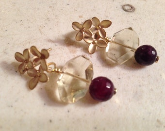Garnet Earrings - Lemon Quartz Jewellery - Red and Yellow Jewelry - Gold - Luxe - Chic - Flowers