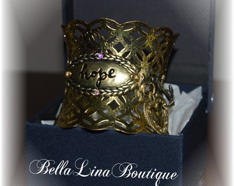 HOPE Antique Gold Metal Cuff Bracelet With Anchor and Heart Charms - Ready To Ship!